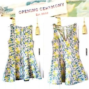 Opening Ceremony floral skater jacquard dress
